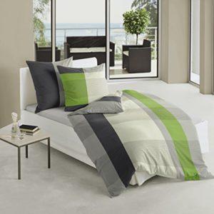 Bierbaum 4643_06 - Juego de funda nórdica, 155 x 220 cm, satén, diseño a rayas, color verde, beige y negro