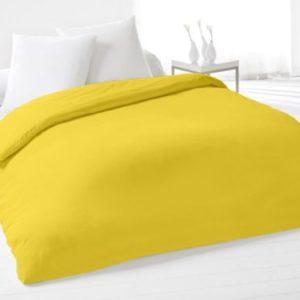 Funda de edredón lisa 220x240 cm de algodón amarilla