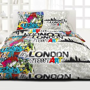 Douceur de noches dr1278 _ 1 London – Funda nórdica de 220 x 240 cm y 2 fundas de almohada de 63 x 63 cm), multicolor