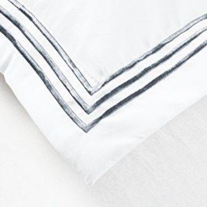 Funda nórdica Imperial Rooms de microfibra cepillada muy suave, junto con fundas de almohada, para cama doble, individual y tamaño King, Grey Embroidered, matrimonio