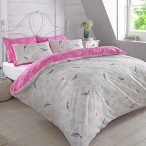 Dreamscene–Juego de funda nórdica con funda de almohada de jaula de pájaros de lujo, poliéster/algodón, lila/rosa, rey