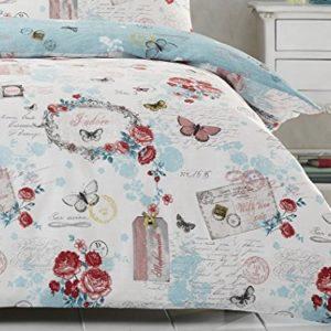 DND 'Darling' flores y mariposas francés Postal impreso funda nórdica conjunto, azul pastel, matrimonio