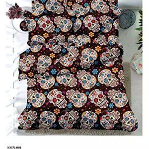 Cama doble 4pcs entrañable calaveras de azúcar Imprimir cama cubierta cráneo de microfibra ropa de cama para niños hojas de tamaño completo
