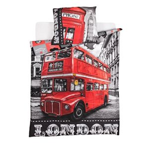 (LONDON BUS) FUNDA EDREDON NORDICO + FUNDA COJIN 100 % ALGODON* CAMA 90 X 200 CM (LONDON BUS)