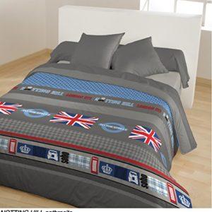 CALINE impresa Notting hill-Juego de cama funda nórdica de 140 x 200 cm, color gris
