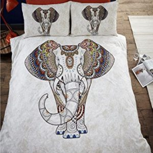 Juego de funda de edredón y 2fundas de almohada, cama doble, ropa de cama, diseño de elefante, Samburu Bold, ethnnic, de la India, Gris
