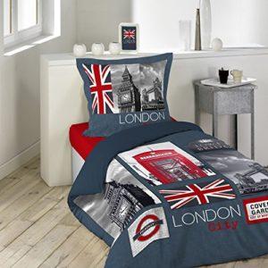 Douceur d'Intérieur City London - Juego de cama, con funda de almohada, 140 x 200 cm, multicolor, algodón, multicolor, 140 x 200 cm