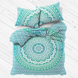 Funda de edredón con fundas de almohada, color verde, Mandala, por Labhanshi, Reversible, talla matrimonial