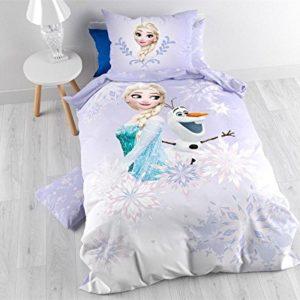 Character World–Funda nórdica de 140x 200cm + funda de almohada de 60x 70cm bajo licencia Anna y Elsa de Frozen 100% franela algodón rosa 24x 30cm