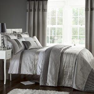 Catherine Lansfield - Juego de cama (funda de edredón de 260 x 220 cm y 2 fundas de almohada de 50 x 75 cm, 50% poliéster, 50% algodón), color plateado