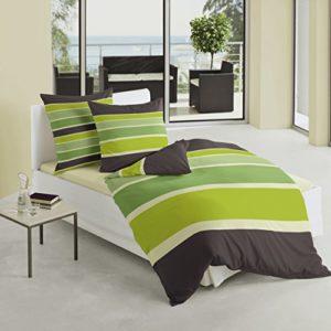 Bierbaum 4757_18 - Juego de funda nórdica, 135 x 200 cm, satén, diseño a rayas, color verde y negro