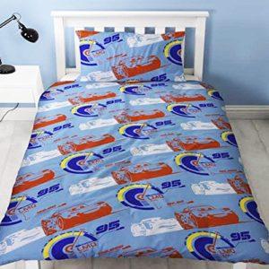 """Disney Cars 3"""" Lightning"""" – Juego de funda nórdica y diseño de impresión de repetición, multicolor, para cama individual"""