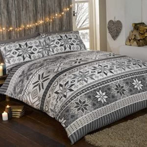 Estocolmo 100% franela de algodón edredón funda de edredón y 1funda de almohada juego de ropa de cama, algodón), color gris/multicolor, único
