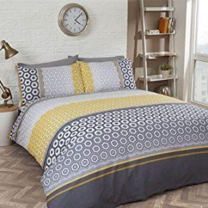 Hexagonal Banded rayas amarillo gris mezcla de algodón doble funda nórdica