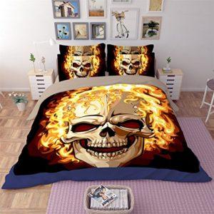 3d edredón de impresión varios calavera ropa de cama, funda de edredón sábana y funda de almohada de cráneo de Halloween (3piezas/4piezas), Rojo, 160*210cm for 1.2M Bed