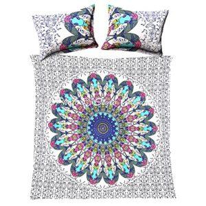 Algodón doble funda nórdica conjunto Mandala con almohada estándar casos impresos floral blanco azul indio edredón cubierta By Stylo Culture