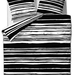 2piezas Etérea–Ropa de cama rayas blanco y negro 135x 200cm + 80x 80cm