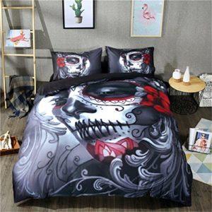 4pc funda de edredón juegos 3d impresión Joker Calavera ropa de cama, funda de edredón sábana y funda de almohada de cráneo de Halloween, Rojo, 160*210cm for 1.5M Bed