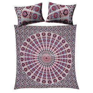 Funda de edredón de la mandala de algodón de la reina Set de la cubierta de edredón rosada étnica del ojo de pavo real por Stylo Culture