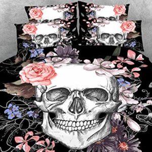 3pcs todo tipo cráneo impreso Edredón cubrir conjunto Cool esqueleto calaveras de azúcar conjuntos de ropa de cama para el novio regalo hijo