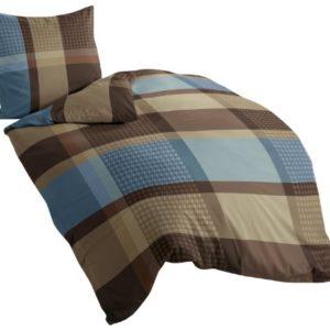 Bierbaum 4942_09 - Juego de funda nórdica, 135 x 200 cm + 80 x 80 cm, franela fina, diseño a cuadros, color marrón y azul