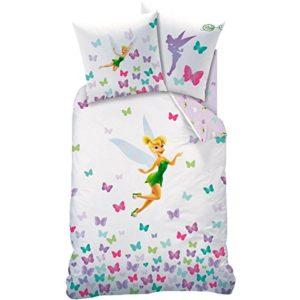 Disney Fairies–Campanilla–Juego de cama: funda de edredón (140x 200) + funda de almohada (63x 63)–100% algodón–Fresh