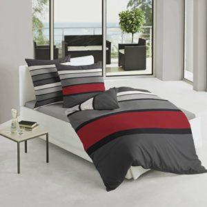 Bierbaum 4757_63 - Juego de funda nórdica, 155 x 220 cm + 80 x 80 cm, satén, diseño a rayas, color gris y rojo