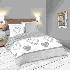 Lovely Casa Funda De Edredón, algodón, gris, 260 x 240 cm