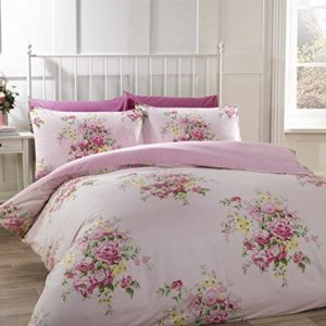 Flores rosas de algodón cepillado King size (230x 220cm) Juego de funda nórdica