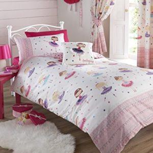 Juego de cama infantil, incluye funda de edredón doble y 2 fundas de almohada, diseño de bailarina, color rosa