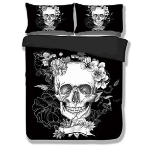 3PS suave funda de edredón conjuntos negro blanco flor Calavera ropa de cama, funda de edredón de cráneo de Halloween Negro Funda de edredón con funda de almohada, colorido, 220*240cm