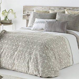 Antilo - Funda nórdica DEKA cama 150 y dos fundas almohada 50x85 - Color Beig (Juego duvet 3 piezas con saco nórdico, cojines decorativos y funda de almohada)