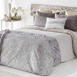 Antilo - Funda nórdica AYANA cama 150 y dos fundas almohada 50x85 - Color Malva (Juego duvet 3 piezas con saco nórdico, cojines decorativos y funda de almohada)