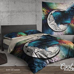 """Calavera Diseño de luna de juego de cama o colcha por Cool ropa de cama, azúcar calavera funda de edredón o colcha, King/Queen/full/único tamaños, Orgánico (Organic), colorido, Queen 95""""x87"""" $178"""