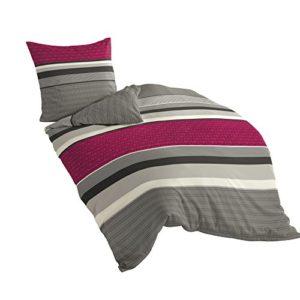 Bierbaum 4630_04 Dessin - Juego de funda nórdica (135 x 200 cm + 80 x 80 cm, franela fina), diseño de rayas, color rosa