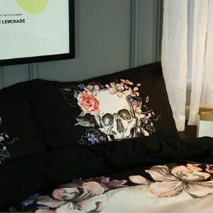 Impreso en 3d misteriosa acuarela flor calavera conjuntos incluyen edredón de cama almohada sábana bajera ajustable cama 1funda de edredón 2fundas de almohada, calavera, Double:Duvet Cover200x200 cm
