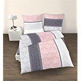 Ido–Juego de cama (2piezas,, funda nórdica de 135x 200cm y almohada 80x 80cm), Color Rosa Cuarzo y Plateadoa Ornamente