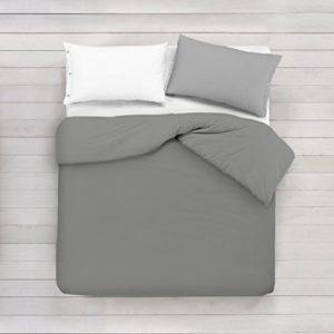 ADP Home - Funda nórdica Lisa, Calidad 144Hilos, 16 hermosos colores, cama de 150 cm - Gris Perla