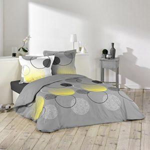 Douceur d'Intérieur Hoopy–Juego de cama con 2fundas de almohada, de algodón, multicolor, algodón, multicolor, 240 x 260 cm