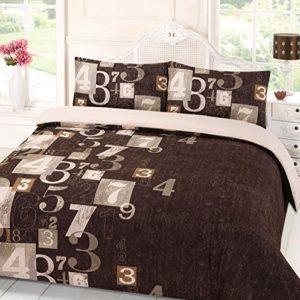 Dreamscene–Juego de funda de edredón con funda de almohada cama dígitos marrón–Double-P, poliéster, marrón, matrimonio