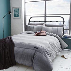 Catherine Lansfield - Colcha de tela de estilo vaquero, Gris, edredón para cama individual