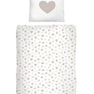 Franela fina Corazón I Love You en beige–Tamaño 80x 80+ 135x 200cm–Fabricado en Alemania