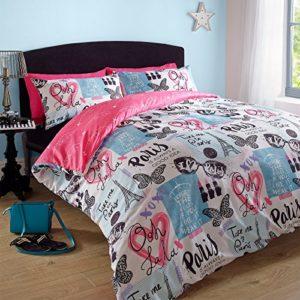 Dreamscene–Juego de cama con funda de almohada juego de cama Paris rosa Torre Eiffel–doble
