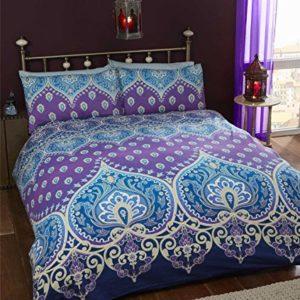 Asha Mujer india Diseño, funda de edredón y 2funda de almohada ropa de cama juego de cama, azul/morado