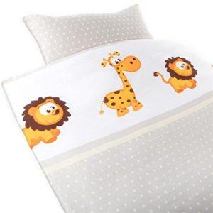 2piezas gräfe stayn Baby Juego de ropa de cama con diseño de animales y Arroz integrado cierre de 100% algodón, funda nórdica de 135x 100cm, almohada 60x 40cm León–jirafa