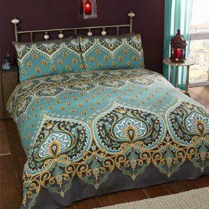 Asha Esmeralda indio diseño, funda de edredón y 2funda de almohada juego de ropa de cama, verde/azul