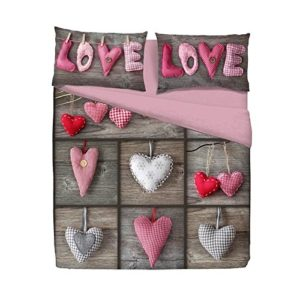 Funda nórdica Fantasy Corazón Love 2tirolés Shabby–Individual 1plaza cm. 155x 200
