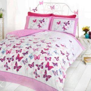 Just Contempo - Juego de funda nórdica y funda de almohada (algodón), diseño de mariposas, mezcla de algodón, Pink ( white purple teal ), funda de edredón doble King size