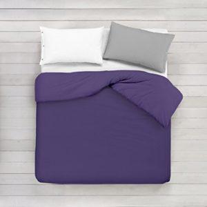 ADP Home - Funda nórdica Lisa, Calidad 144Hilos, 16 hermosos colores, cama de 150 cm - Púrpura