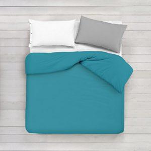 ADP Home - Funda nórdica Lisa, Calidad 144Hilos, 16 hermosos colores, cama de 150 cm - Turquesa